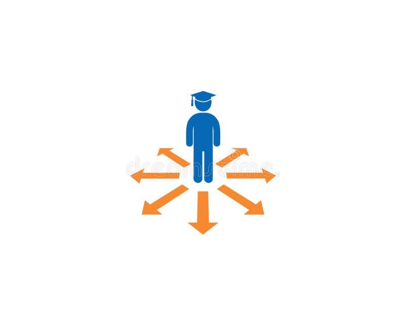 Символ наведения Студент со значком крышки Символ образования простого дизайна иллюстрация штока