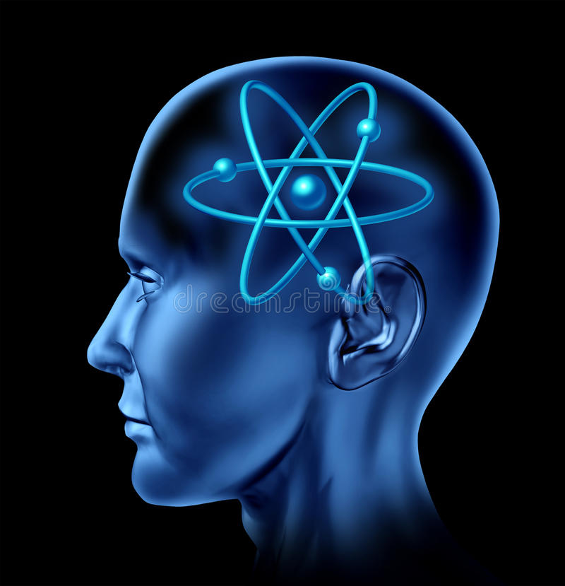 символ науки молекулы мозга атома иллюстрация штока