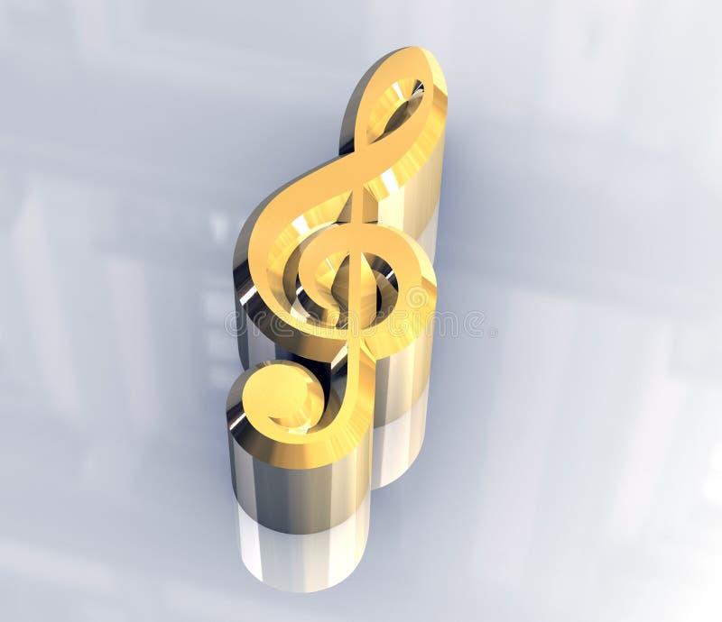 символ нот ключа золота 3d иллюстрация вектора