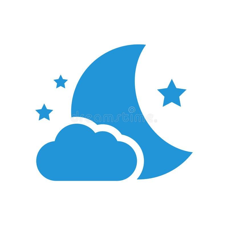 Символ ночи полумесяца и звезд иллюстрация вектора