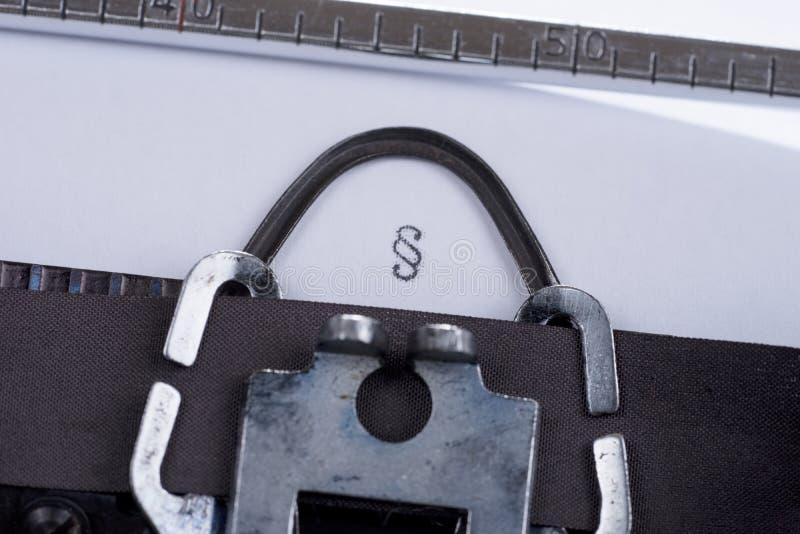 Символ параграфа написанный на старой машинке стоковая фотография rf