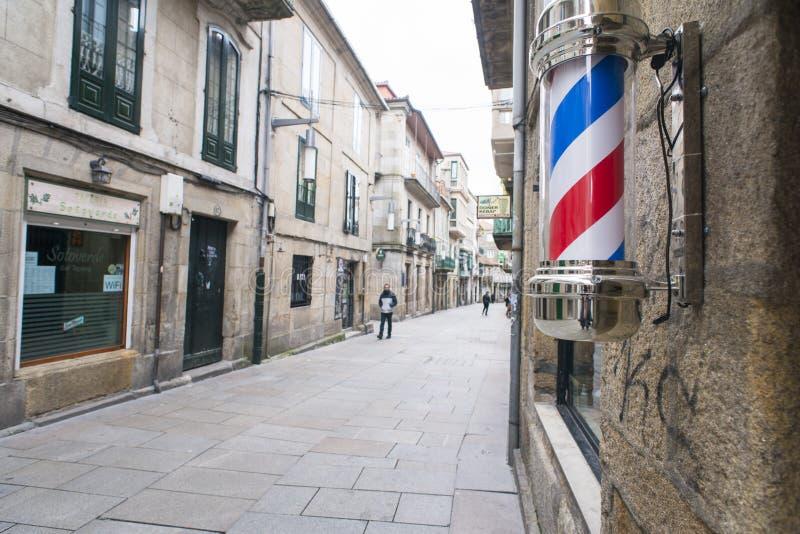 Символ парикмахерских услуг в Понтеведре Испании стоковые фото