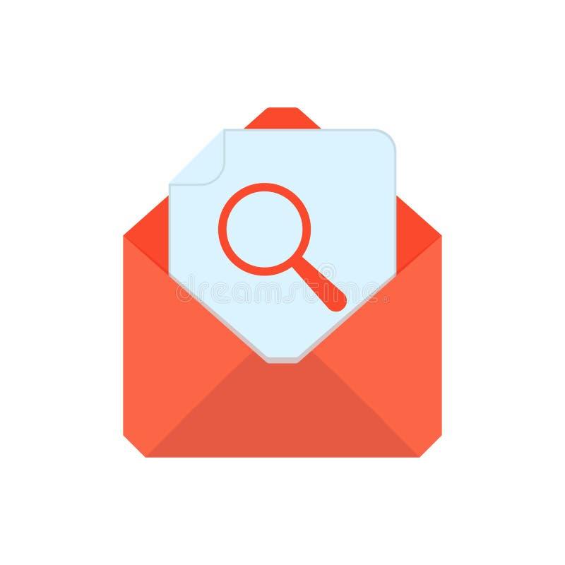 Символ почты Икона габарита Конверт поиска Дизайн знака иллюстрация вектора