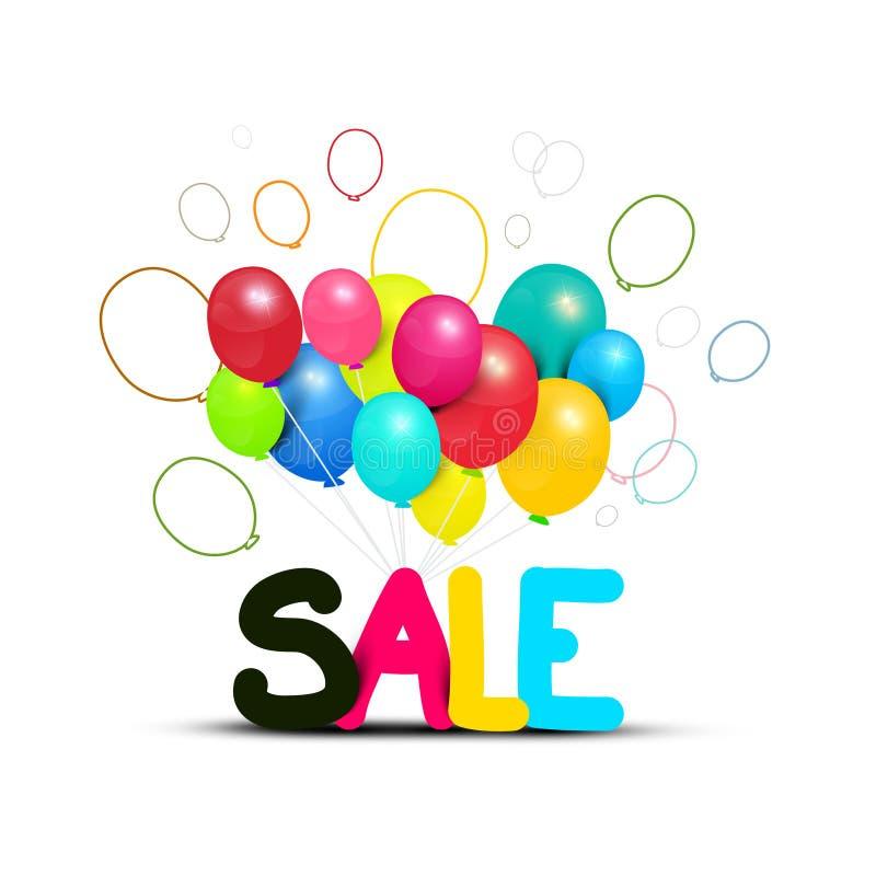 Символ продажи с красочными изолированными воздушными шарами бесплатная иллюстрация