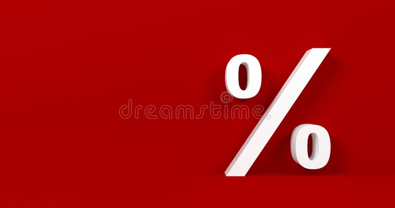 Символ процента изолированный на красной предпосылке стоковое фото rf