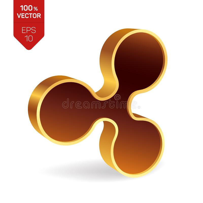 Символ пульсации равновеликий золотой знак пульсации 3D цифрово иллюстрация вектора
