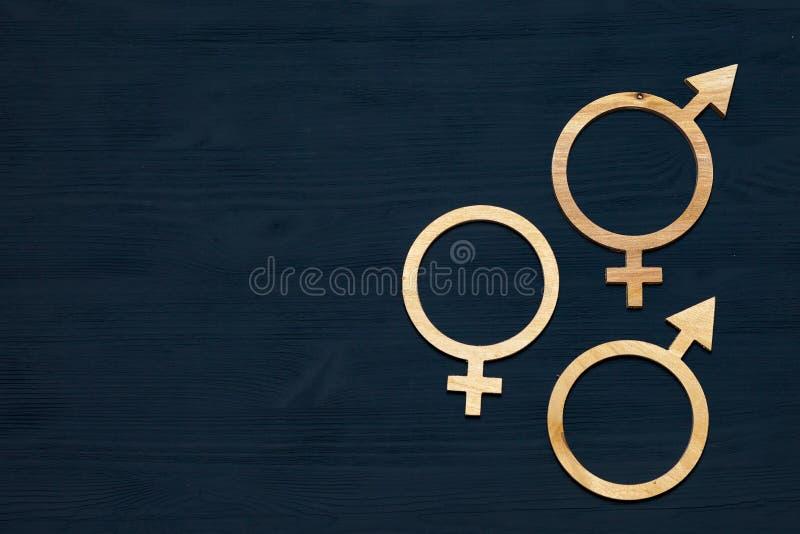 Символ равенства полов сделанный из переклейки Черная деревянная предпосылка Мужчина и женские символы стоковые фотографии rf