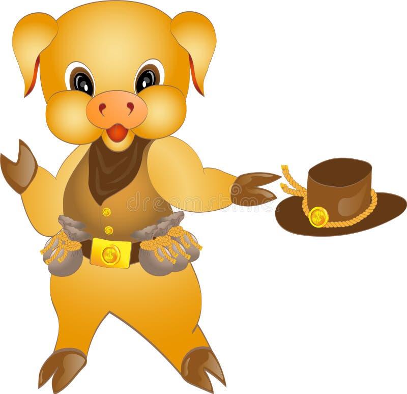 Символ свиньи желтого цвета Нового Года в изображении ковбоя иллюстрация вектора