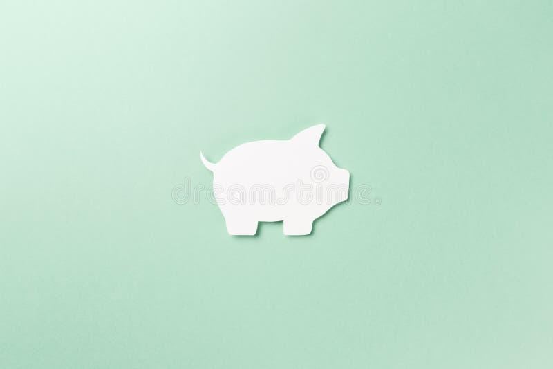 Символ свиньи на предпосылке мяты стоковые фотографии rf