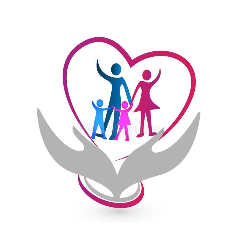 Символ семьи с руками и сердце vector иллюстрация значка иллюстрация вектора