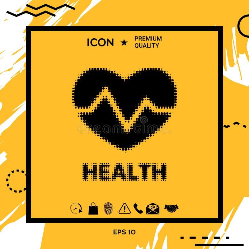 Символ сердца - логотип полутонового изображения иллюстрация штока