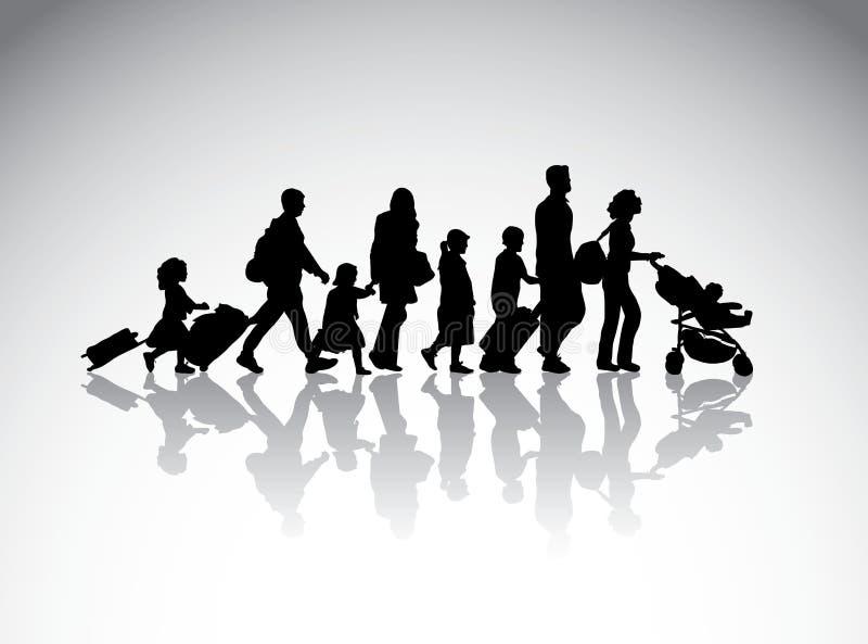 Символ силуэта перемещения семьи людей бесплатная иллюстрация