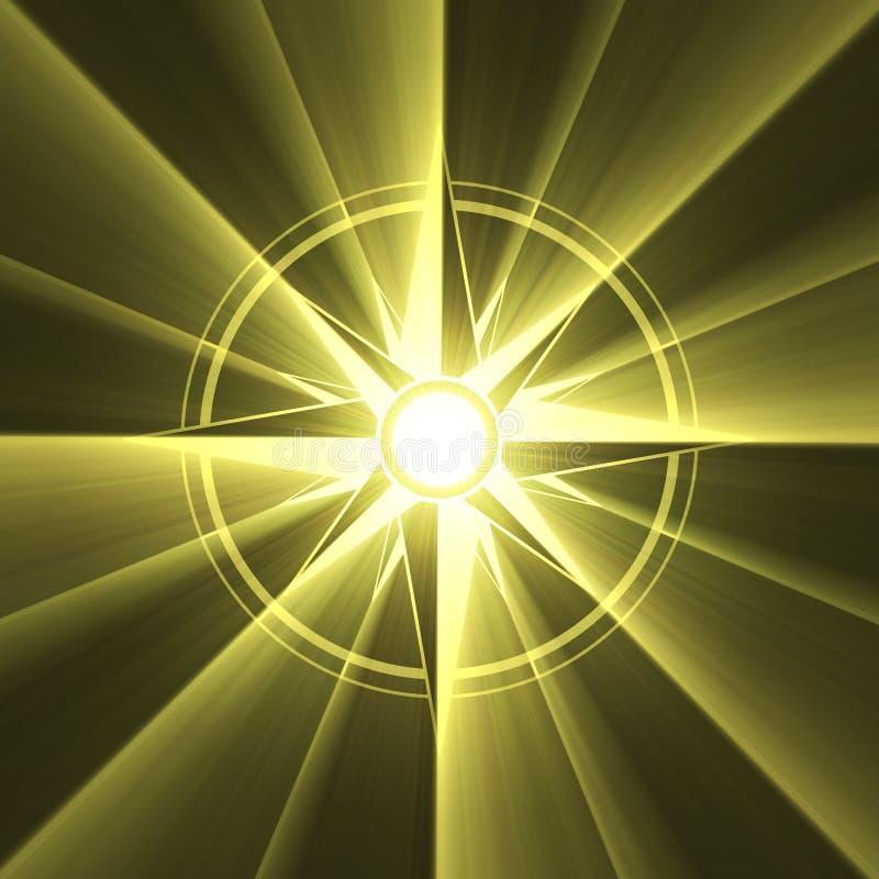 символ солнца вспыхивающей звезды компаса иллюстрация штока