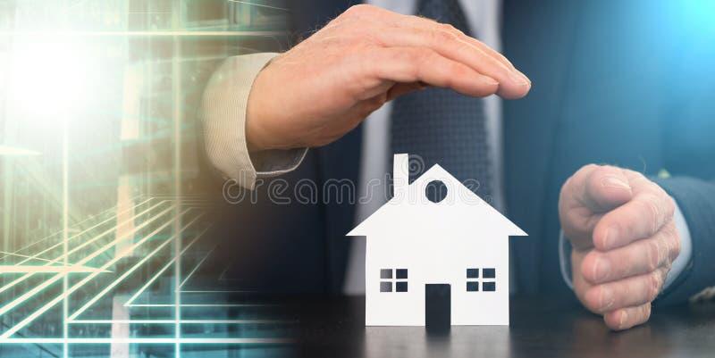 Символ страхования жилья; множественная выдержка стоковые изображения rf