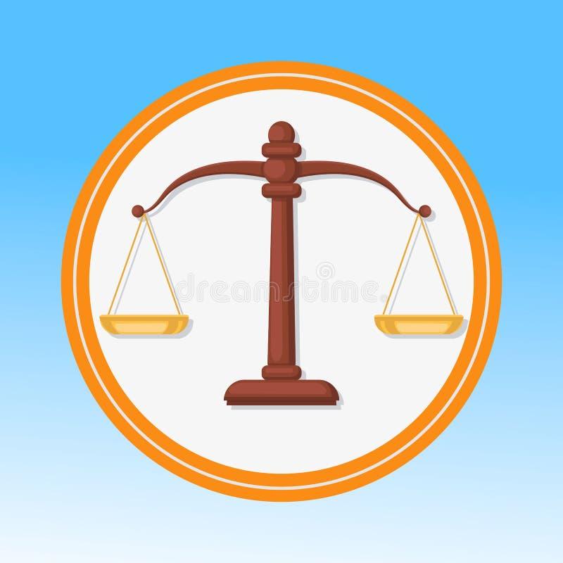 Символ суда, масштабирует плоскую иллюстрацию вектора иллюстрация штока