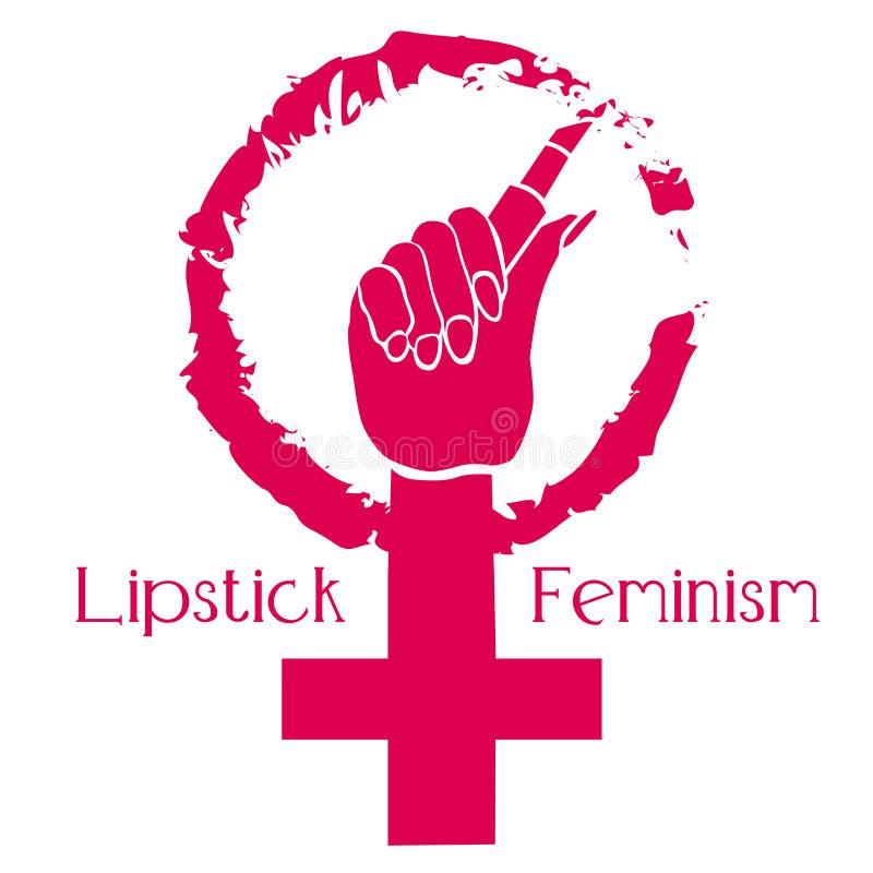 Символ феминизма E Феминизм губной помады Красота и сила иллюстрация вектора