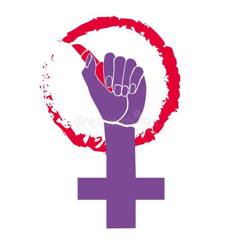 Символ феминизма E Феминизм губной помады Красота и сила Изолированное изображение на белой предпосылке иллюстрация вектора