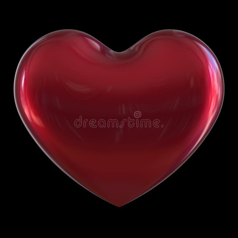 Символ формы сердца дня Валентайн красного цвета любов классического на черноте иллюстрация вектора