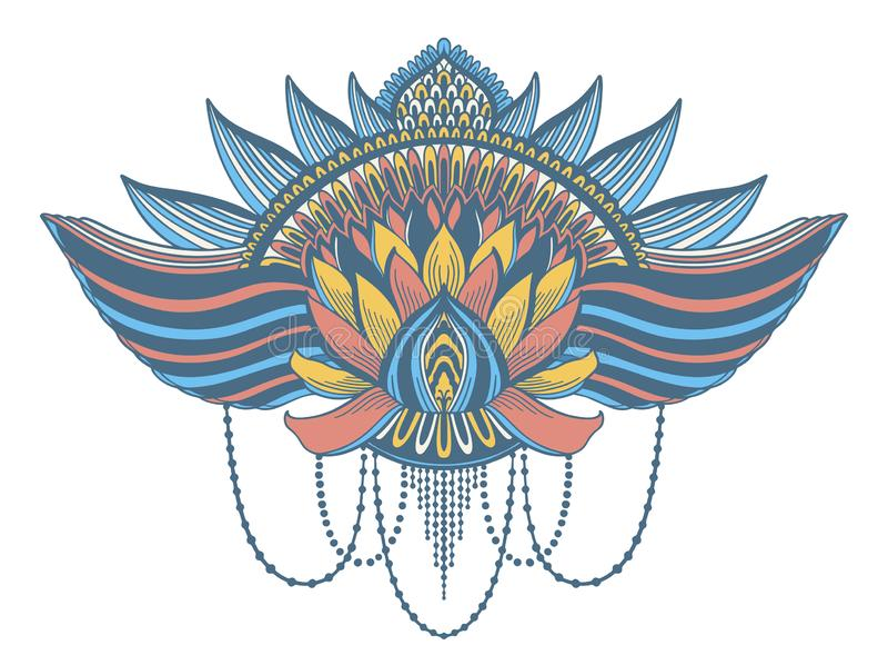 Символ цветка лотоса этнический Мотив дизайна татуировки, элемент украшения Духовность, нирвана и невиновность знака азиатские стоковое изображение