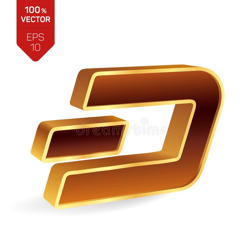 Символ черточки равновеликий золотой знак черточки 3D цифрово иллюстрация вектора