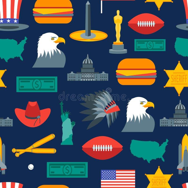 Символ шаржа картины предпосылки Америки вектор иллюстрация штока