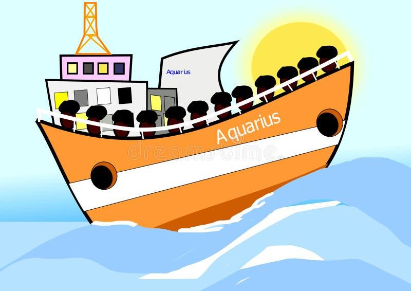 Символ шлюпки водолея настоящей иммиграции стоковое фото