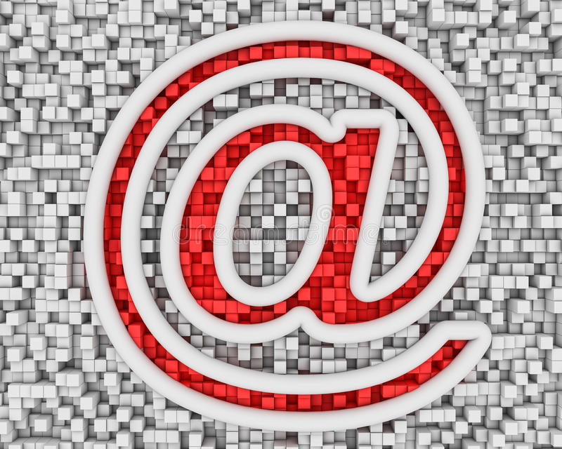 Символ электронной почты на кубиках иллюстрация штока