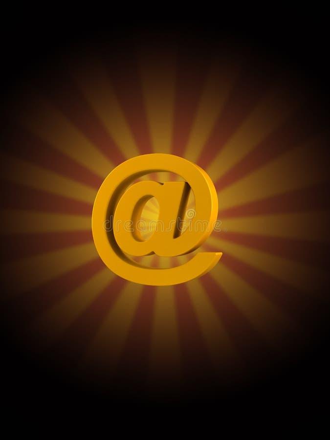 Символ электронной почты на предпосылке лучей иллюстрация штока