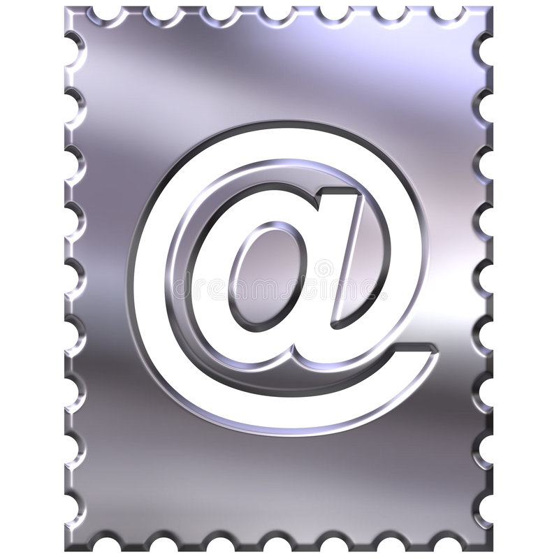 символ 3d обрамленный электронной почтой серебряный бесплатная иллюстрация