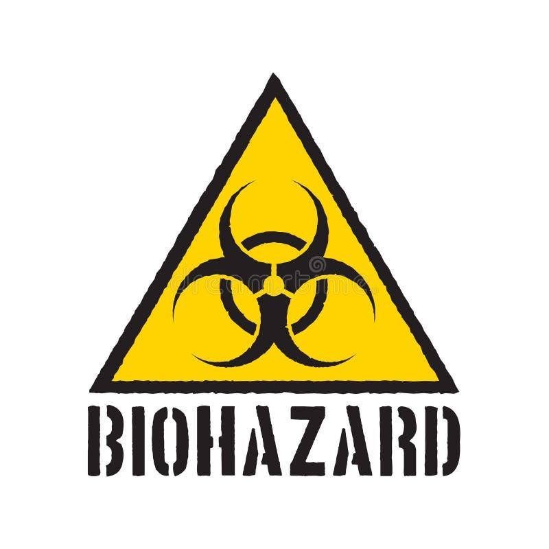 Символ biohazard Grunge Изолированный предупредительный знак Biohazard r иллюстрация штока