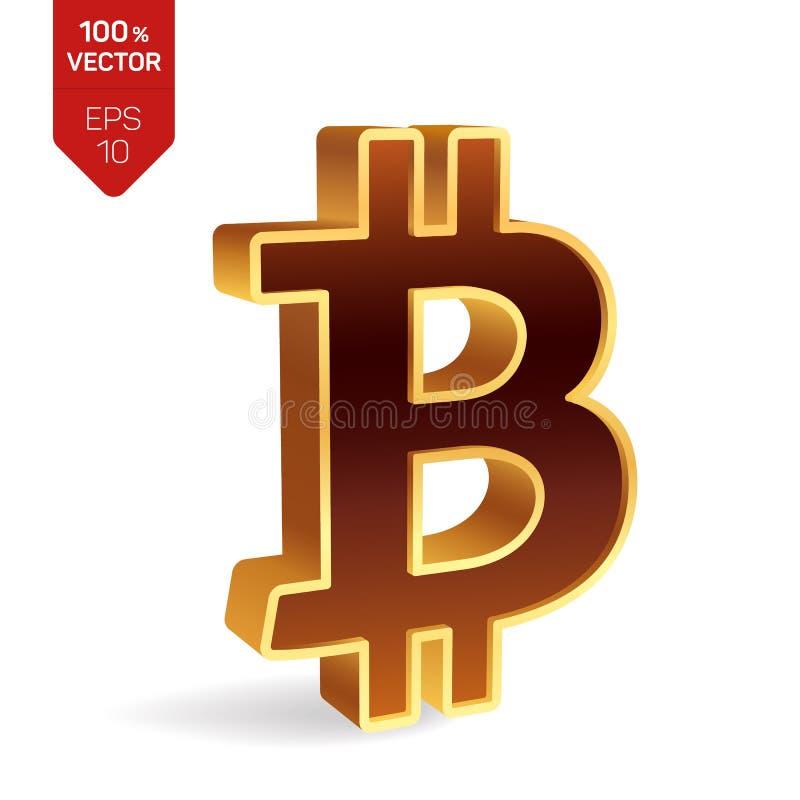 символ bitcoin знак 3D равновеликий золотой Bitcoin цифрово иллюстрация штока