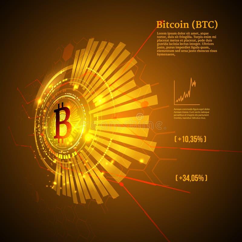 Символ Bitcoin и диаграмма цены Концепция Cryptocurrency Футуристический дизайн вектора иллюстрация вектора