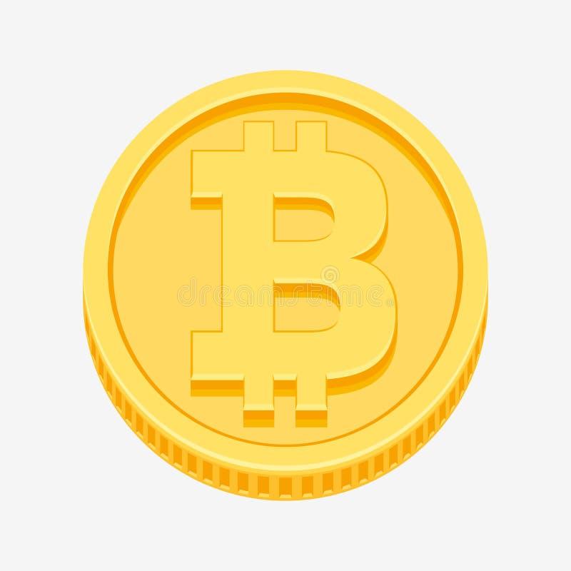 Символ Bitcoin на золотой монетке иллюстрация вектора