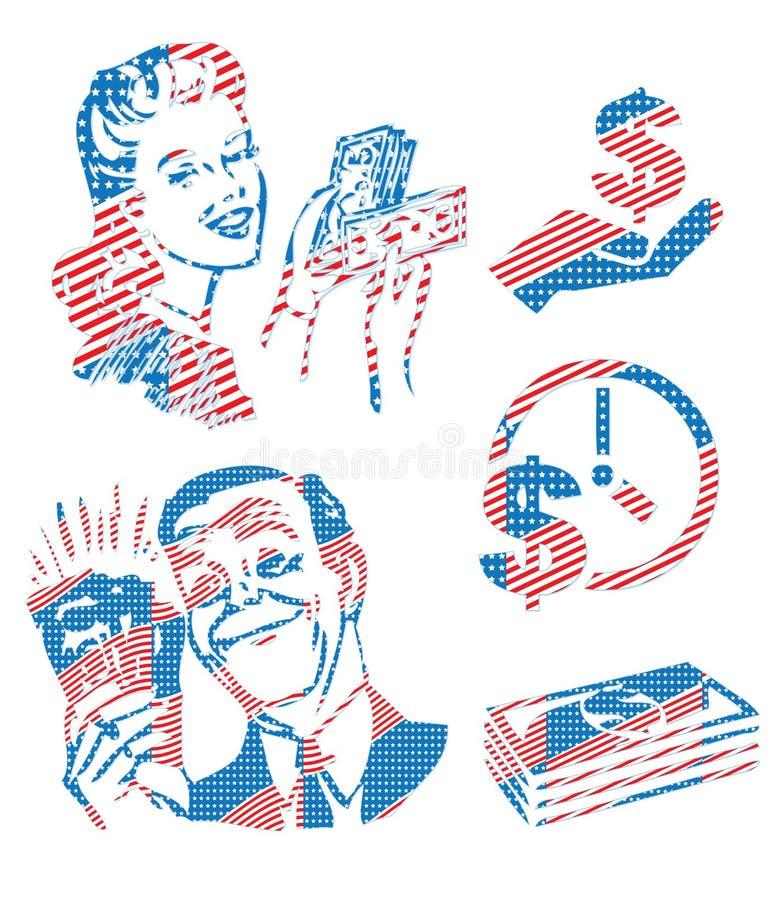 Символ c характера финансов дела флага США Америки патриотический иллюстрация вектора