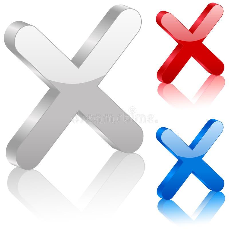 символ cancel 3d иллюстрация вектора