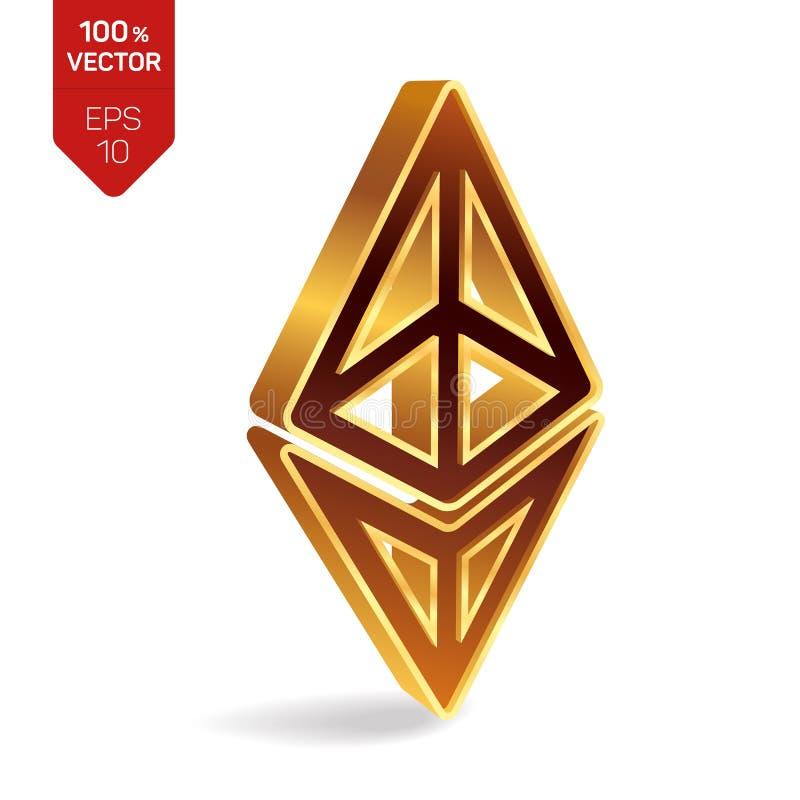 Символ Ethereum знак 3D равновеликий золотой Ethereum цифрово иллюстрация вектора