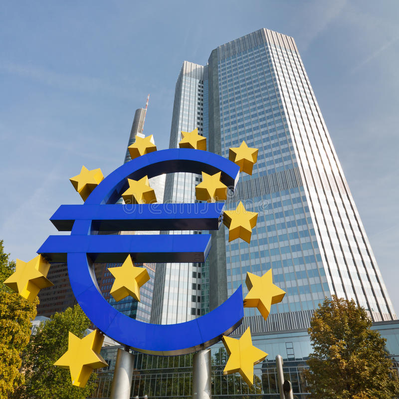 символ frankfurt евро ecb стоковые фото