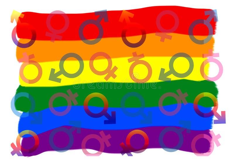 Символ LGBT Цвет флага и значков радуги красочных на белой предпосылке иллюстрация вектора