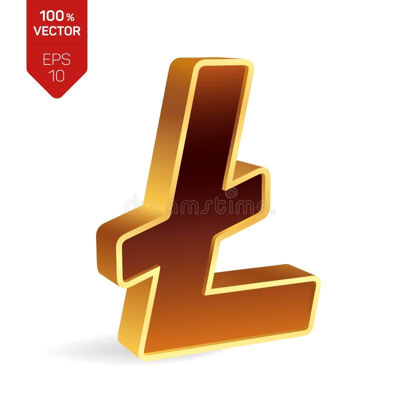 Символ Litecoin знак 3D равновеликий золотой Litecoin цифрово бесплатная иллюстрация