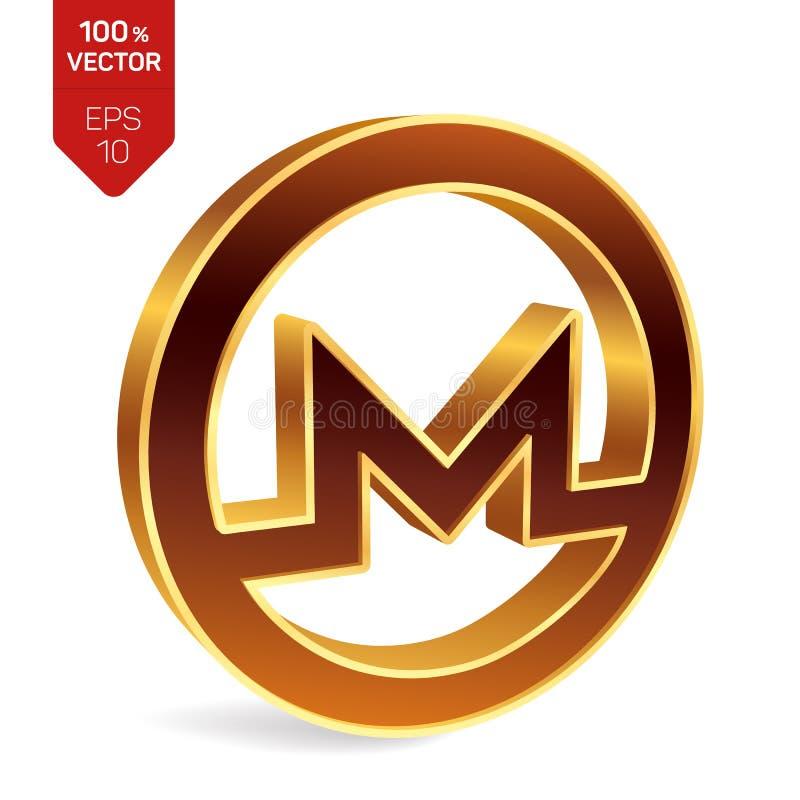 Символ Monero знак 3D равновеликий золотой Monero цифрово бесплатная иллюстрация