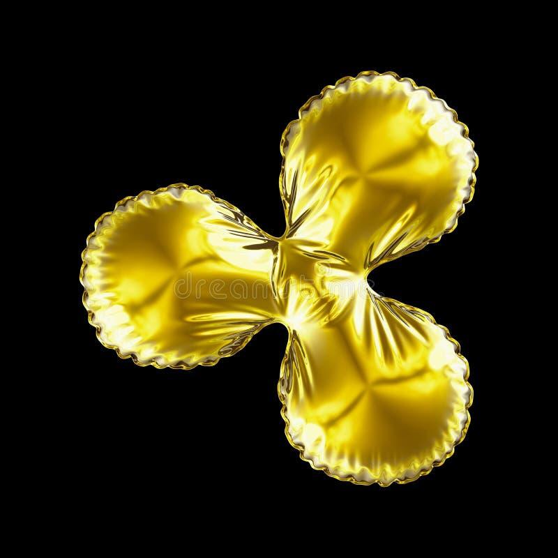 Символ QuarkCoin золота сделанное из раздувного изолированного воздушного шара на черной предпосылке иллюстрация вектора