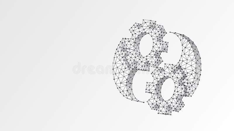 Символ Yin-Yan шестерней Баланс индустрии, решение дела, технология, концепция инженерства Конспект, цифровой, wireframe иллюстрация штока