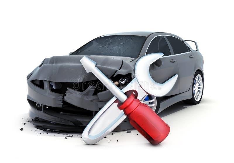 Символ автокатастрофы и ремонта иллюстрация штока