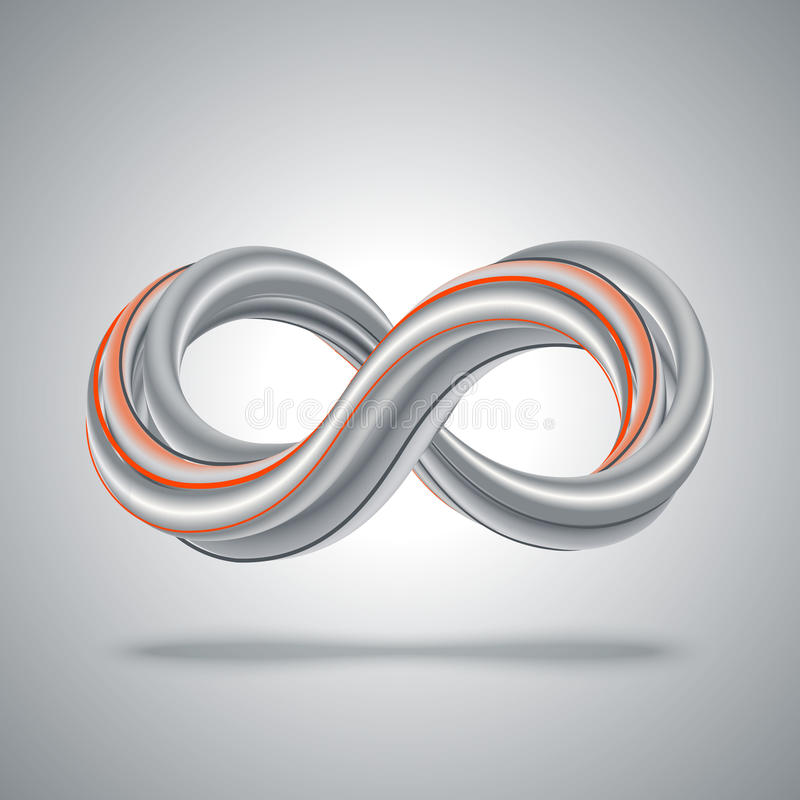 символ безграничности 3d абстрактная математика предпосылки иллюстрация вектора