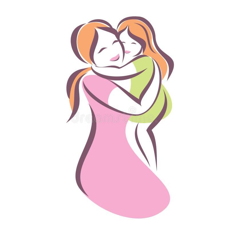 Картинки для срисовки мама и дочка обнимаются