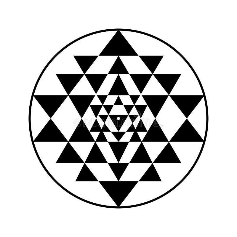 Символ вектора Sri Yantra иллюстрация вектора
