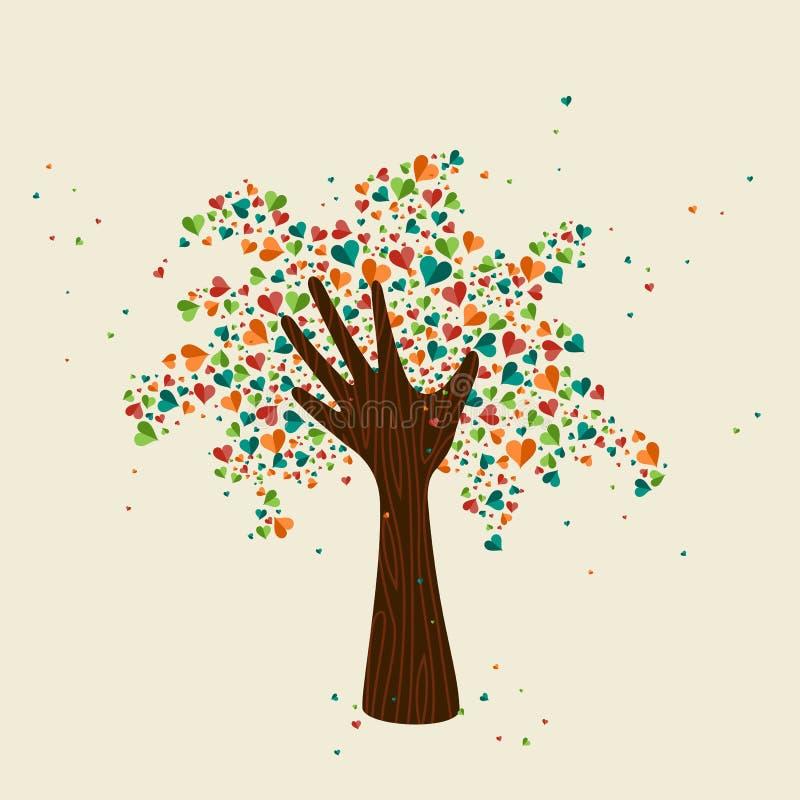 Символ влюбленности дерева руки для помощи общины иллюстрация вектора