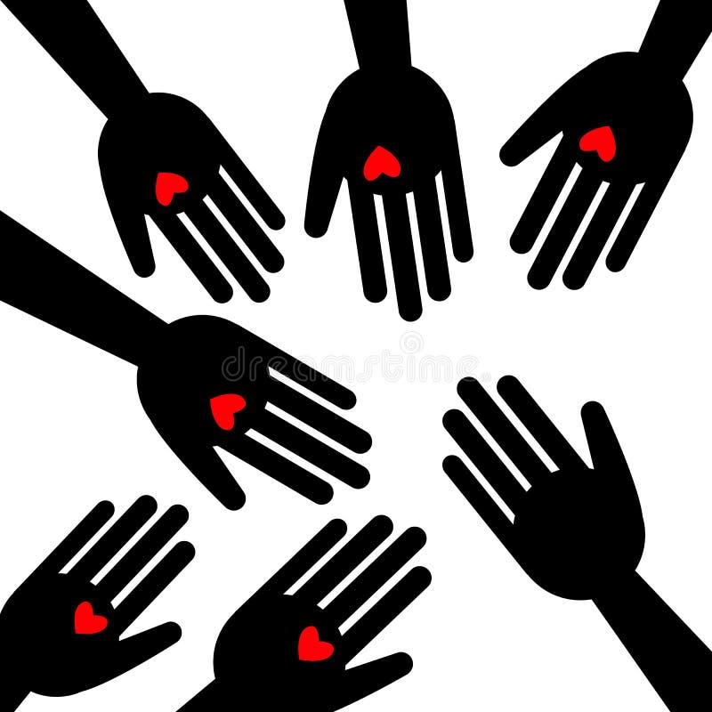 Символ влюбленности значка руки сердца иллюстрация вектора