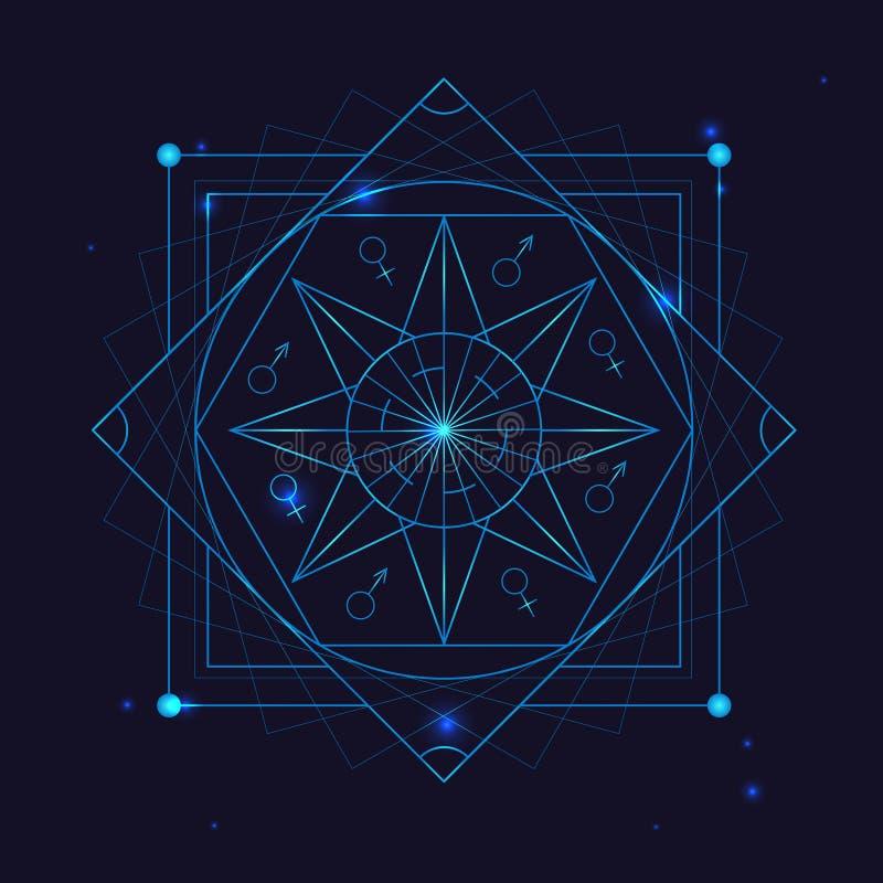 Символ геометрии алхимии утончает линию вектор иллюстрация штока
