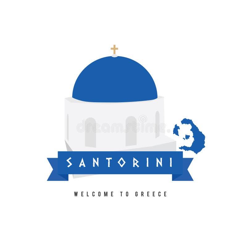 Символ Греции острова Santorini в голубой и белой иллюстрации иллюстрация штока